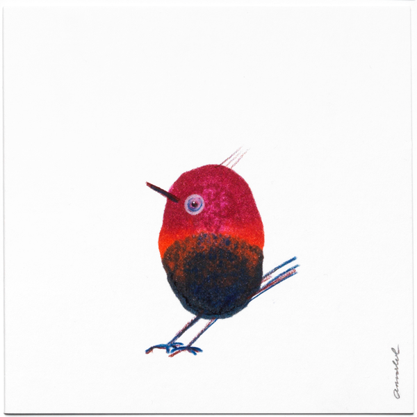 INKDROP BIRD NO.030 - GARNET RED & DARK BLUE - ORIGINAL DRAWING