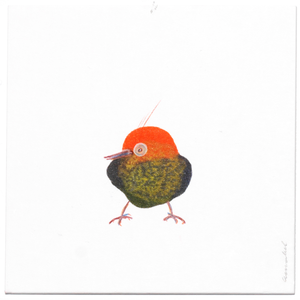 INKDROP BIRD NO.035 - ORANGE, GREEN & OLIVE - ORIGINAL DRAWING
