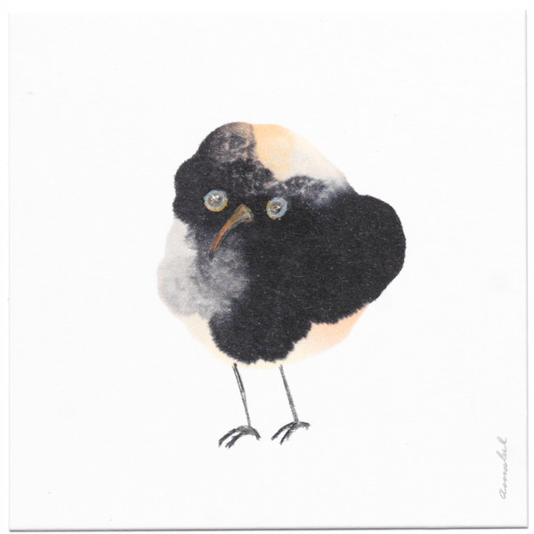 INKDROP BIRD NO.040 - PALE PINK, LIGHT GREY & DARK GREY - ORIGINAL DRAWING