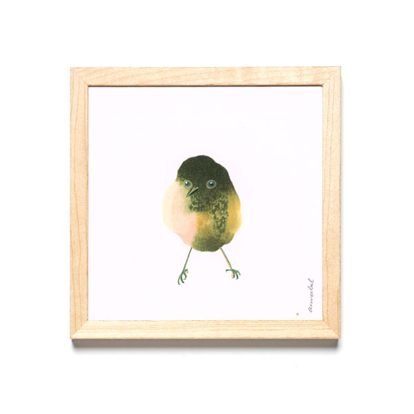 INKDROP BIRD NO.042 - PALE PINK & OLIVE - ORIGINAL DRAWING