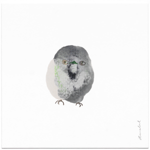 INKDROP BIRD NO.052 - GREY & PALE GREEN - ORIGINAL DRAWING