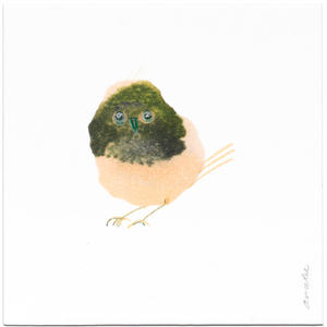 INKDROP BIRD NO.053 - PALE PINK & OLIVE - ORIGINAL DRAWING