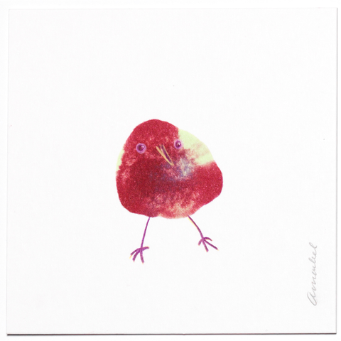 INKDROP BIRD NO.060 - GARNET RED & PALE GREEN - ORIGINAL DRAWING