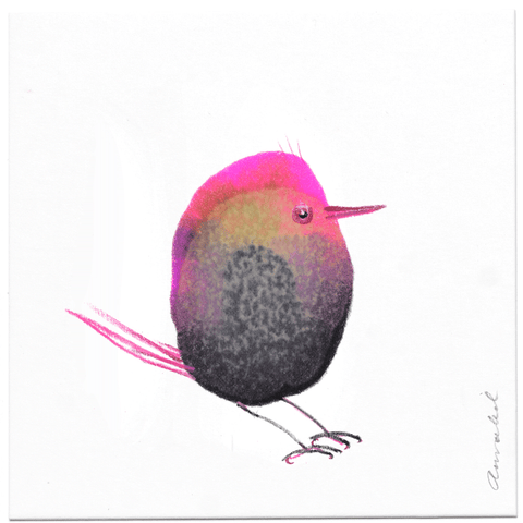 INKDROP BIRD NO.063 - GREY & NEON PINK - ORIGINAL DRAWING
