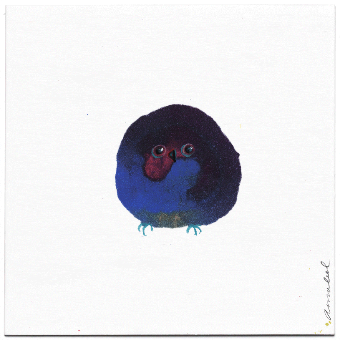 INKDROP BIRD NO.064 - MARINE BLUE & CADMIUM RED - ORIGINAL DRAWING
