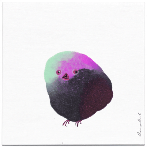 INKDROP BIRD NO.065 - GREY, PINK & MIGNONETTE - ORIGINAL DRAWING