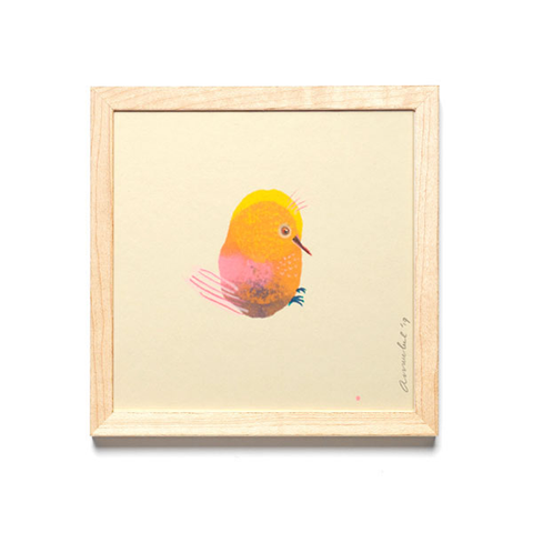 INKDROP BIRD NO.06 - YELLOW & PINK - ORIGINAL DRAWING