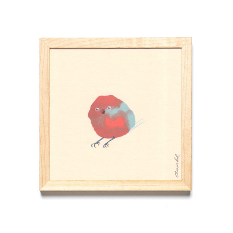 INKDROP BIRD NO.034 - WARM RED, BLUE & GARNET - ORIGINAL DRAWING