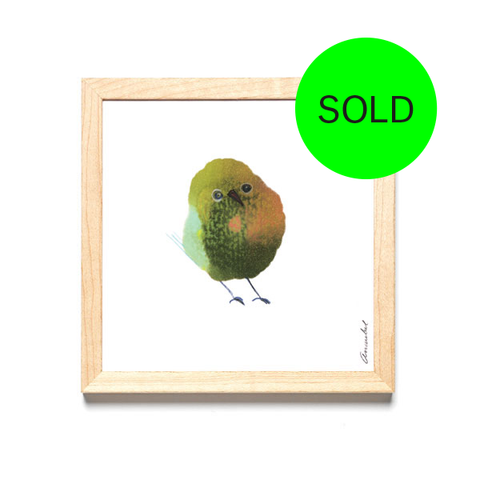 ORIGINAL INKDROP BIRD NO.57 - OLIVE GREEN, YELLOW, EGGSHELL & PINK