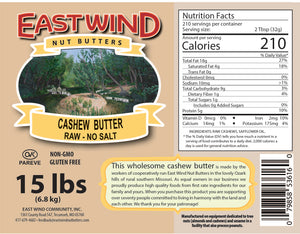 Natural Cashew Butter Raw 15lb