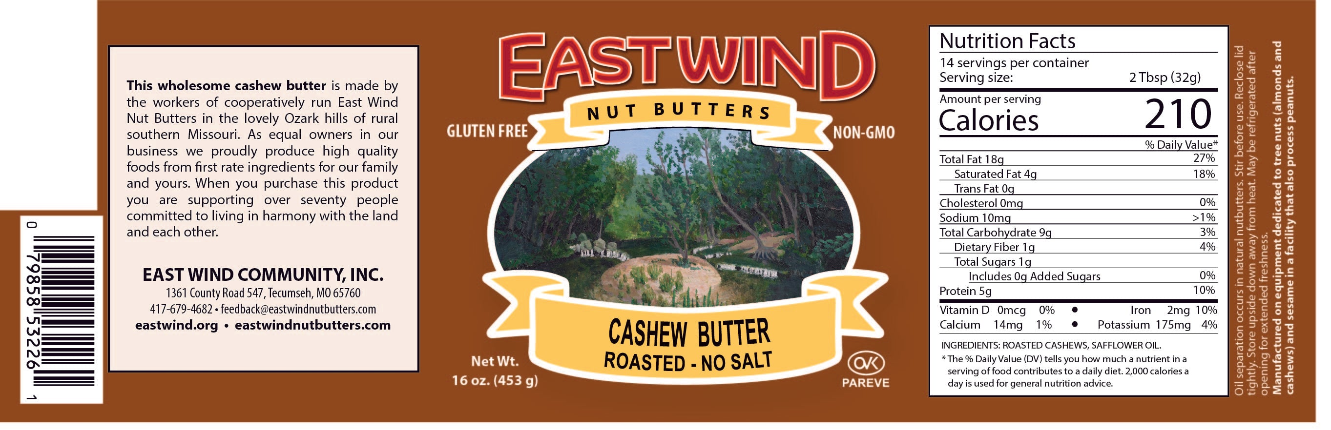 Natural Cashew Butter Roasted 16oz