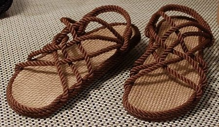Beige and Brown Rope Sandals