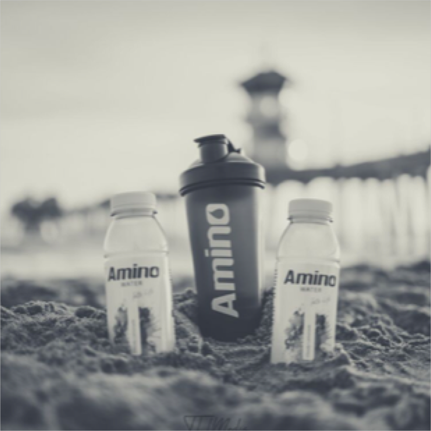 drink amino products on beach