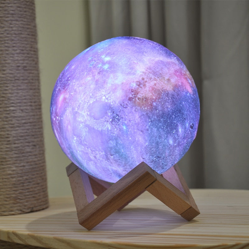 3D Printed Moon Lamp- Colored LED Night Light Galaxy Lamp