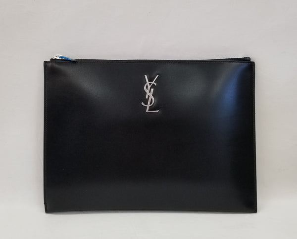 Authentic Saint Laurent YSL Black Smooth Leather Clutch/Ipad Case