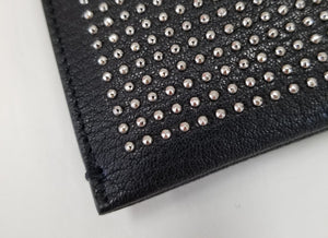 Saint Laurent Black Studded Leather Pouch