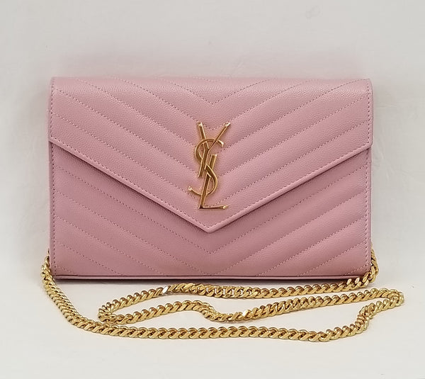 Authentic Saint Laurent Rose Grained Leather Envelope WOC