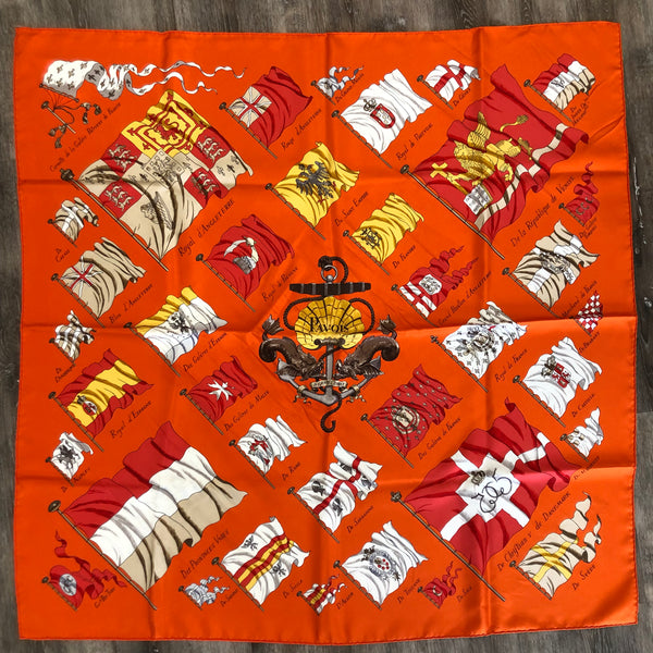 Authentic Hermes Pavois Silk Scarf