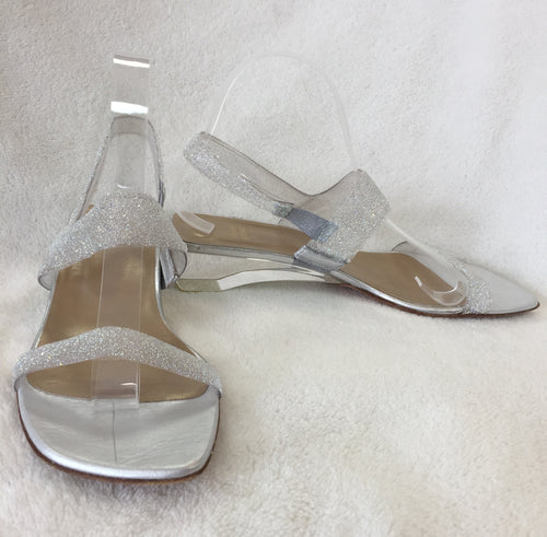 Stuart Weitzman Silver Crystal Jelly Sandals, With Transparent Low Heels