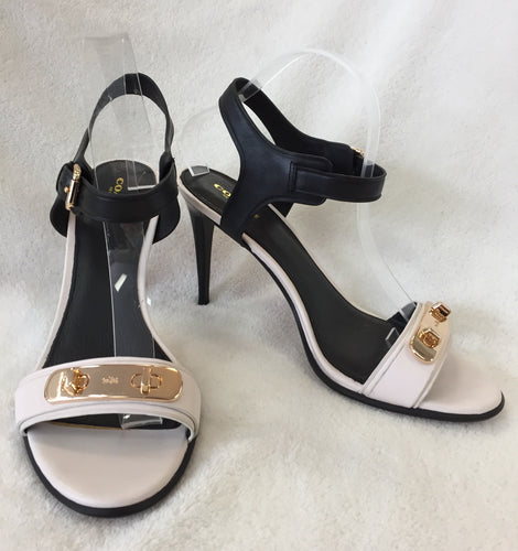 Coach Black And White Leather Sandals