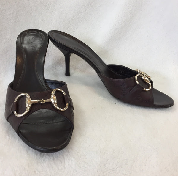 Authentic Gucci Brown Margaux Horsebit Mules Women's Size 39 / 8.5