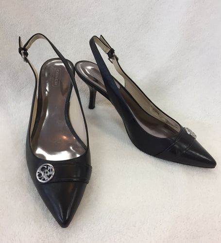 Coach Black Leather Slingbacks