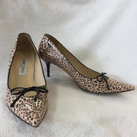 Authentic Jimmy Choo Leopard Print Patent Bow Pumps Women's 40 / 9.5