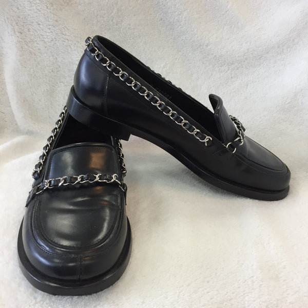Authentic Chanel Black Chain Loafers Women's Size 35.5 / 5-5.5