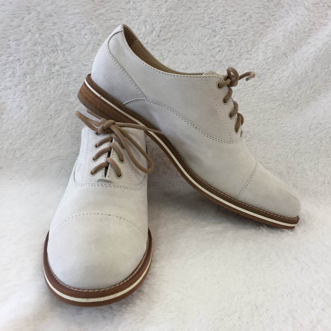 Tod's Ivory Suede Lace Ups Women's 37.5 / 6.5
