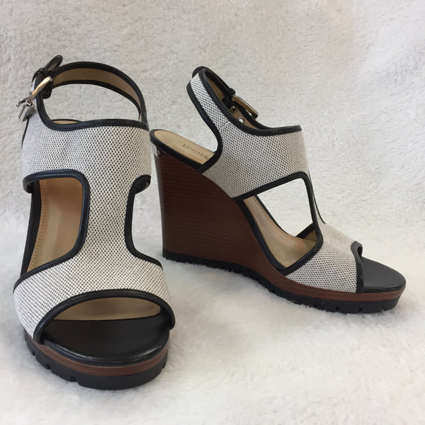 Authentic Michael Kors Canvas Wedge Sandals Women's size 39 / 8