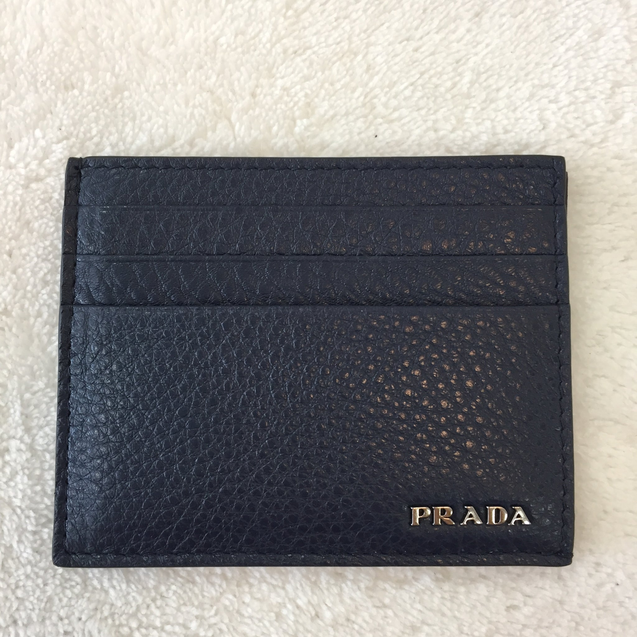 78fe156fbf32 ... Load image into Gallery viewer, Prada Blue Grained Leather Card Holder  ...
