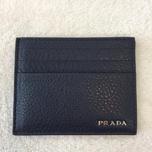 Prada Blue Grained Leather Card Holder