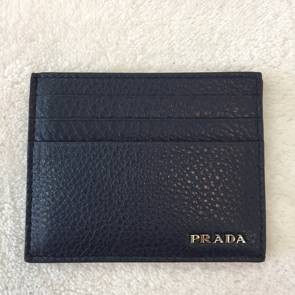 Authentic Prada Blue Grained Leather Card Holder