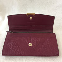 Authentic Burberry Dark Plum Porter Embossed Continental Wallet
