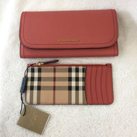 Authentic Burberry Salmon Soft Grain Leather Wallet With Card Case