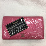 Authentic Chanel Rose Patent Camellia Wallet