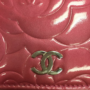 Chanel Rose Patent Camellia Wallet