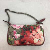 Authentic Gucci Dusty Burgundy Blooms Chain Clutch