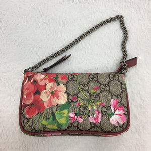 Gucci Dusty Burgundy Blooms Chain Clutch