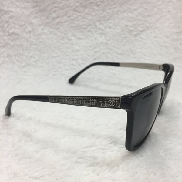 Authentic Chanel Polarized Black Tweed Sunglasses