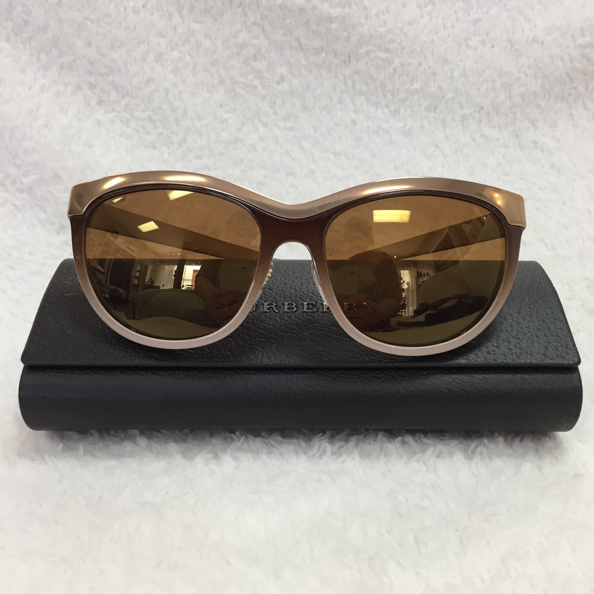 a7ed91ba39b3 ... Load image into Gallery viewer, Burberry Bronze Cat Eye Sunglasses ...