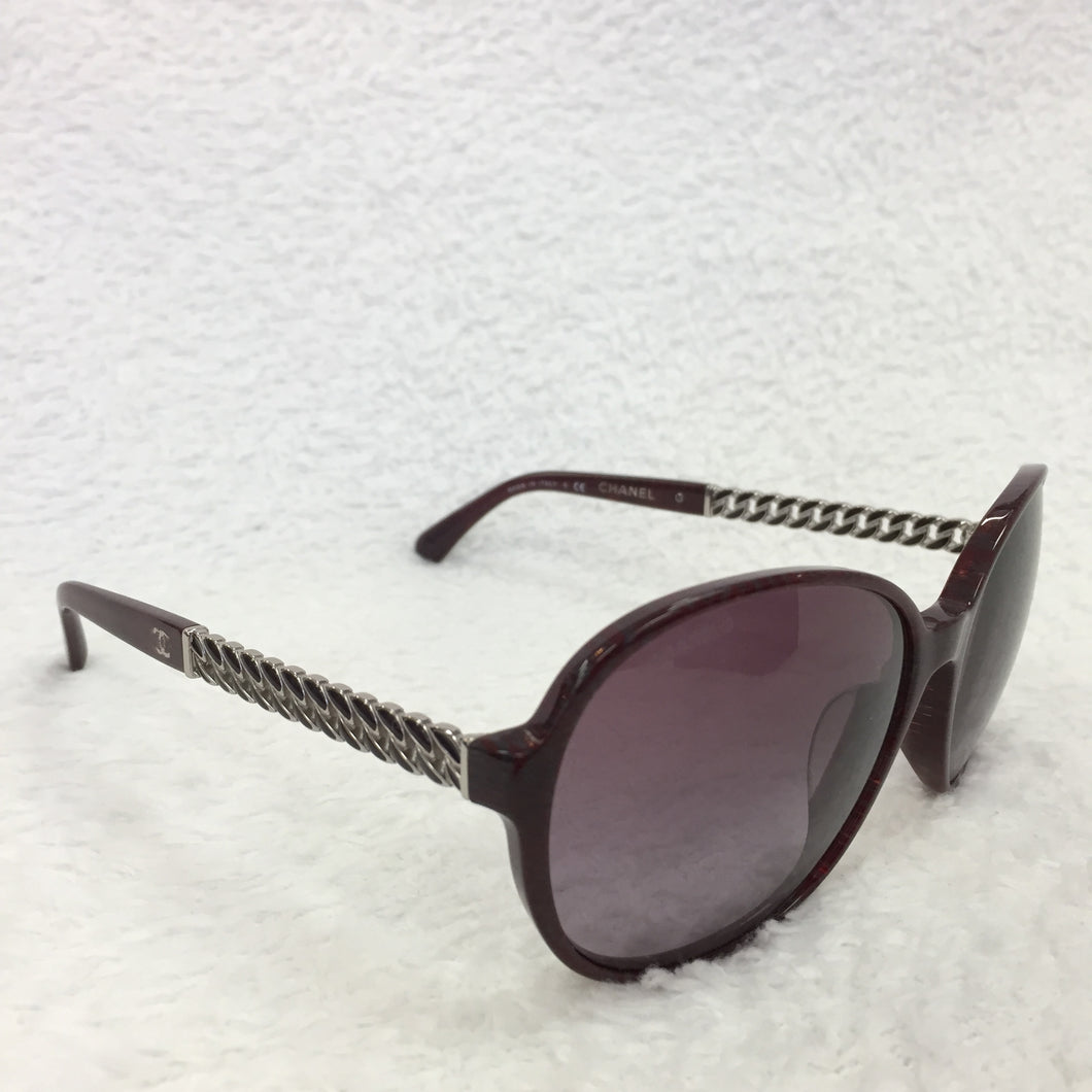 Chanel Bordeaux Silver Chain Sunglasses