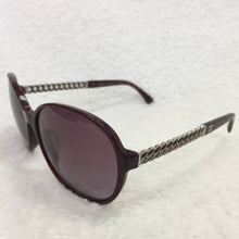Load image into Gallery viewer, Chanel Bordeaux Silver Chain Sunglasses