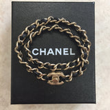 Authentic Chanel Brushed Gold/Black Chain Turn Lock Bracelet/Necklace