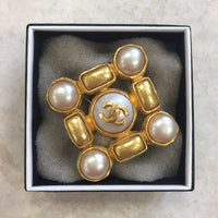 Authentic Chanel Vintage Gold & Pearl Pin