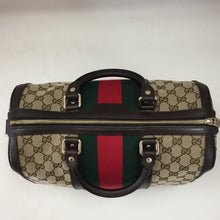 Load image into Gallery viewer, Gucci Brown Vintage Web Boston Tote