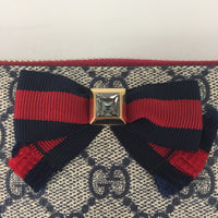 Gucci Navy Supreme Bow Zippy Wallet