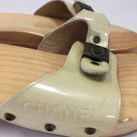 Authentic Chanel Vintage Beige Patent Slides Clogs Women's Size 41 / 10.5