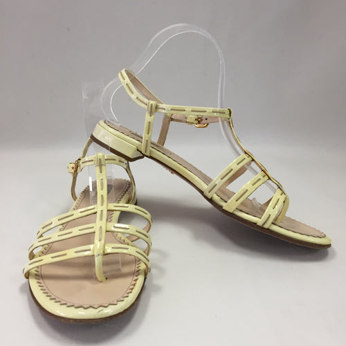 Prada Yellow Patent Flat Sandals Women's 38 / 7 - 7.5
