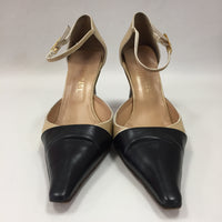 Authentic Chanel Vintage Beige Black Mary Janes Women's Size 40 / 9.5